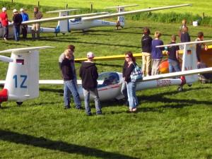 Startaufstellung beim Jugendvergleichsfliegen
